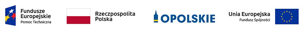 Logo Fundusze Europejskie Pomoc Techniczna, Flaga RP, Logo Opolskie, Unia Europejska Fundusz Spójności